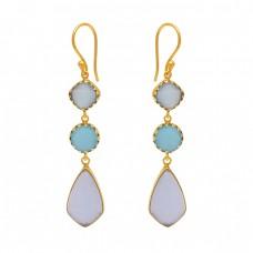 Prong Set Chalcedony Gemstone 925 Silver Jewelry Ear Wire Earrings