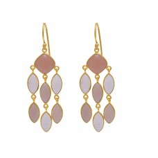 925 Sterling Silver Jewelry Bezel Set Moonstone Gold Plated Earrings