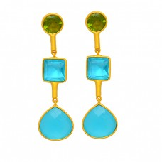 Peridot Blue Topaz Chalcedony Gemstone 925 Sterling Silver Gold Plated Stud Earrings
