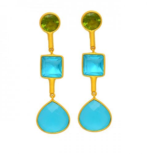 Peridot Blue Topaz Chalcedony Gemstone 925 Sterling Silver Gold Plated Stud Earrings