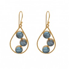 Round Shape Apatite Gemstone 925 Silver Jewelry Gold Plated Earrings