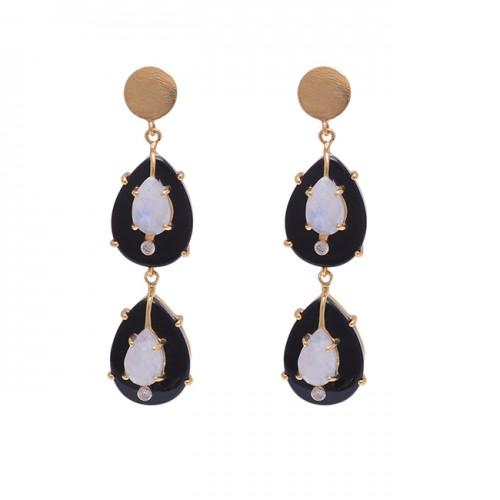 925 Sterling Silver Jewelry Pear Shape Gemstone Gold Plated Earrings