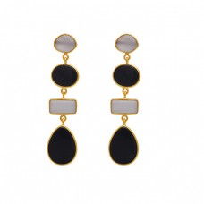 Fancy Rectangle Oval Pear Shape Gemstone Gold Plated Earrings 925 Sterling Silver Jewelry