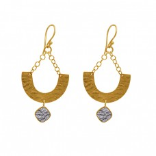 925 Sterling Silver Jewelry Square Shape Gemstone Gold Plated Earrings