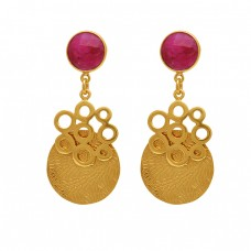 Round Shape Gemstone Gold Plated Earrings 925 Sterling Silver Jewelry