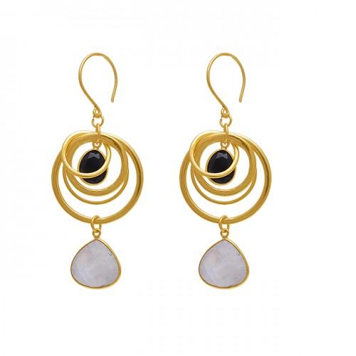 925 Sterling Silver Jewelry Pear Heart  Shape Gemstone Gold Plated Earrings