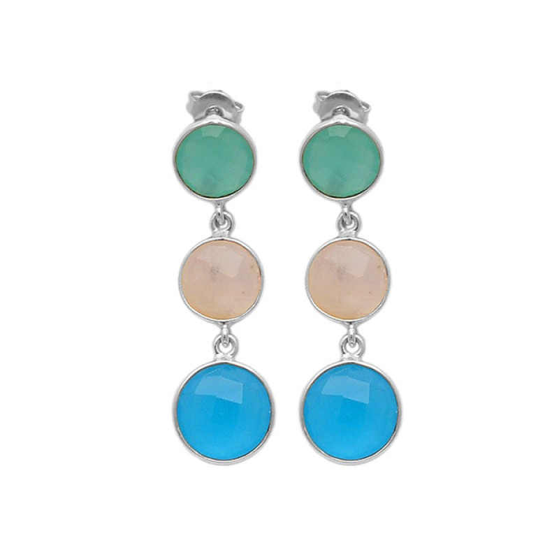 Round Briolette Rainbow Chalcedony Gemstone 925 Sterling Silver Gold Plated Stud Earrings