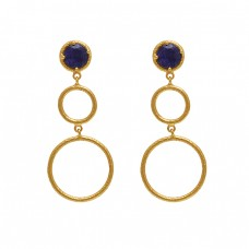 Round Shape Sapphire  Gemstone 925 Silver Jewelry Gold Plated Earrings