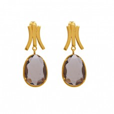 925 Sterling Silver Jewelry Oval  Shape Gemstone Gold Plated Earrings