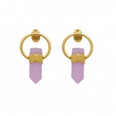 Aqua Chalcedony  925 Silver Jewelry Gold Plated Earrings