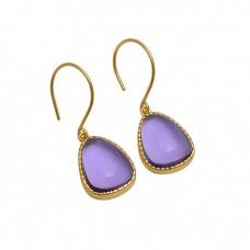 Fancy  Shape Amethyst  Gemstone 925 Sterling Silver Jewelry Earrings