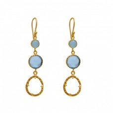 925 Sterling Silver Jewelry Round Oval  Shape Gemstone Gold Plated Earrings