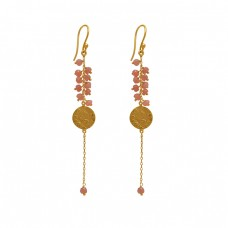 925 Sterling Silver Jewelry Round Shape Gemstone Gold Plated Earrings