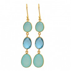 Dangling Earrings Chalcedony Topaz Oval Shape Gemstone 925 Sterling Silver Gold Plated Earrings