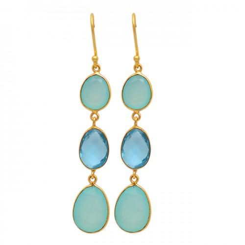 Dangling Earrings Chalcedony Topaz Oval Shape Gemstone 925 Sterling Silver Gold Plated Earrings