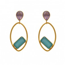 925 Sterling Silver Jewelry Pear Rectangle  Shape Gemstone Gold Plated Earrings