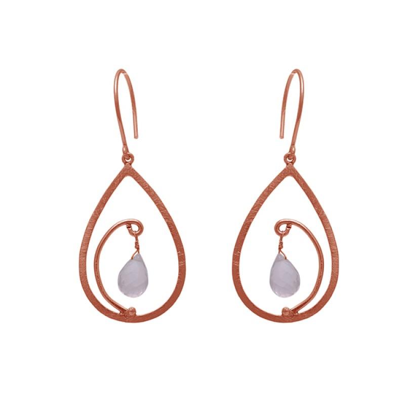 Pear Shape Rose Chalcedony  Gemstone 925 Sterling Silver Jewelry  Earrings