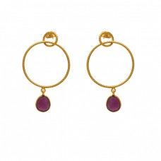 Oval Shape Ruby  Gemstone 925 Silver Jewelry Earrings