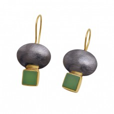 Prehnite Chalcedony 925 Sterling Silver Jewelry Square  Shape Gemstone Gold Plated Earrings