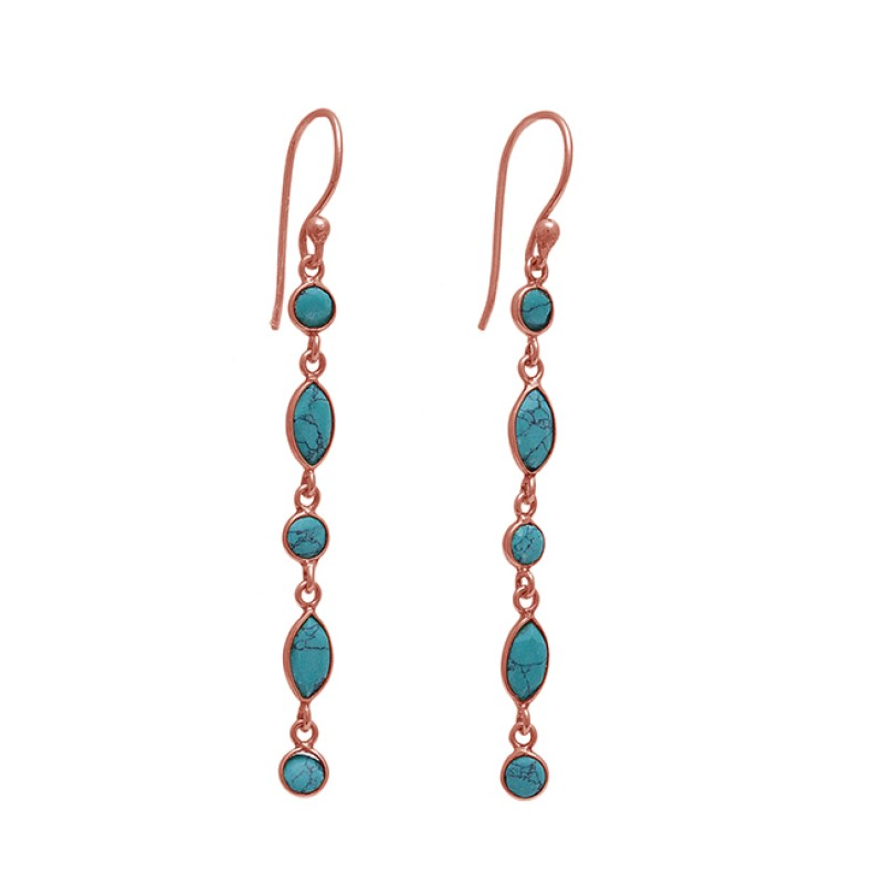 925 Sterling Silver Jewelry Turquoise Gemstone  Gemstone Gold Plated Earrings