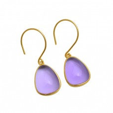 925 Sterling Silver Jewelry Fancy Shape Amethyst  Gemstone Gold Plated Earrings