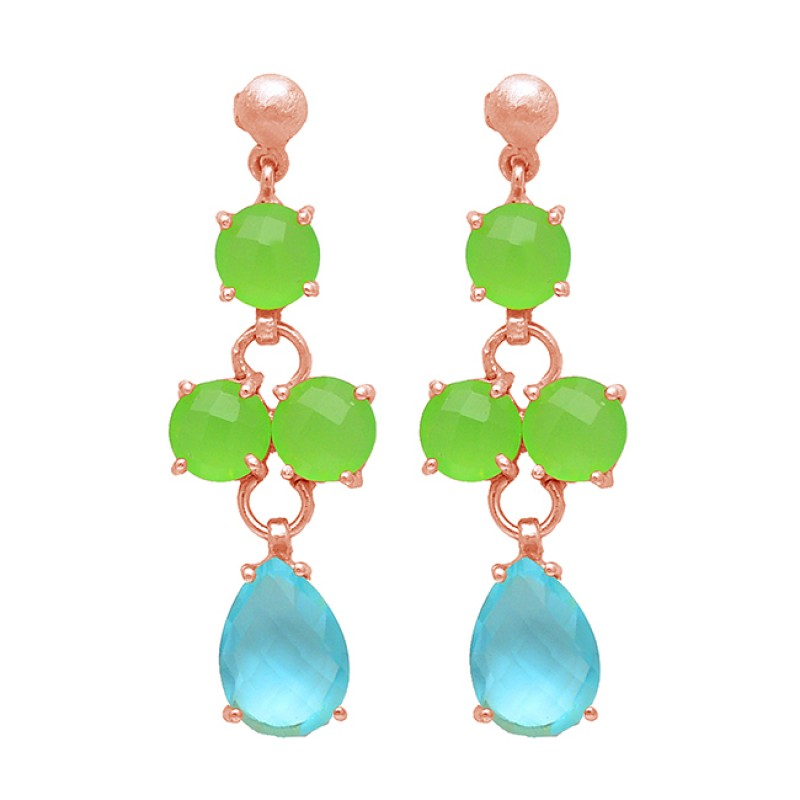 Prong Setting Topaz Chalcedony Gemstone Handcrfted 925 Sterling Silver Gold Plated Stud Earrings