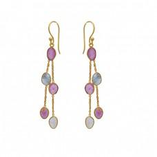 925 Sterling Silver Jewelry Fancy Shape Tourmaline  Gemstone Gold Plated Earrings