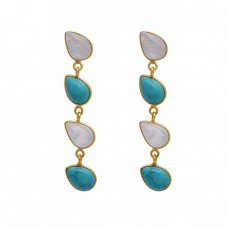 925 Sterling Silver Jewelry Pear  Shape Moonstone Turqoise Gemstone Gold Plated Earrings