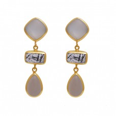 Square Rectangle Pear  Shape Moonstone Rutile Moonstone  Gemstone 925 Sterling Silver Jewelry Earrings