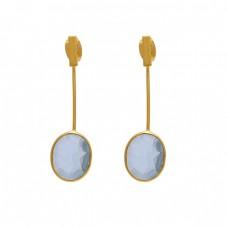 925 Sterling Silver Jewelry Oval Shape Blue Topaz  Gemstone Gold Plated Earrings