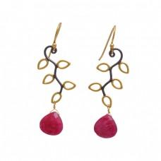925 Sterling Silver Jewelry Heart Shape Ruby  Gemstone Gold Plated Earrings