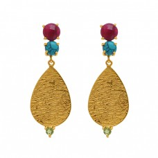 925 Sterling Silver Jewelry  Round Shape Ruby Turquoise Peridot   Gemstone Gold Plated Earrings