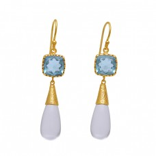 925 Sterling Silver Jewelry Square Pear Shape Topaz Moonstone   Gemstone Gold Plated Earrings