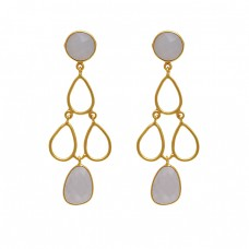 925 Sterling Silver Jewelry Round Oval  Shape Moonstone  Gemstone Gold Plated Earrings