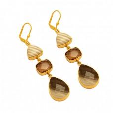 Flint Smoky Quartz Botswana Agate Gemstone 925 Sterling Silver Gold Plated Cilp-On Earrings