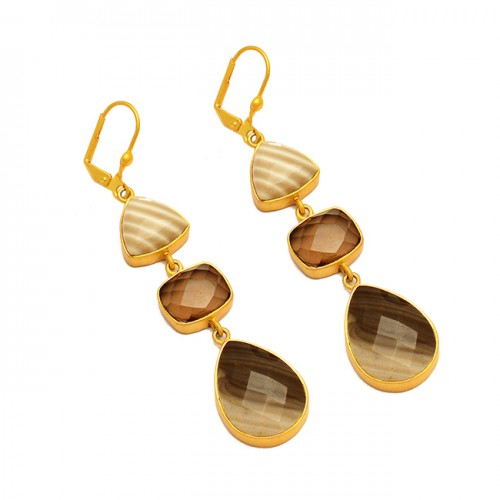 Flint Smoky Quartz Botswana Agate Gemstone 925 Sterling Silver Gold Plated Cilp-On Earrings