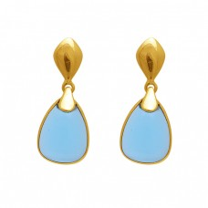 925 Sterling Silver Jewelry Pear Shape Tanzanite  Gemstone Gold Plated Earrings