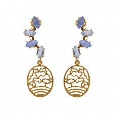 925 Sterling Silver Jewelry Marquoise  Shape Chalcedony Topaz  Gemstone Gold Plated Earrings