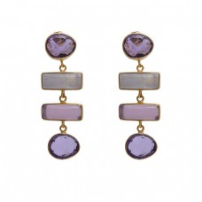 925 Sterling Silver Jewelry Heart Rectangle Heart Shape Amethyst  Moonstone Quartz Amethyst  Gemstone Gold Plated Earrings