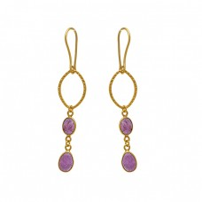 925 Sterling Silver Jewelry Oval  Shape Tourmaline  Gemstone Gold Plated Earrings