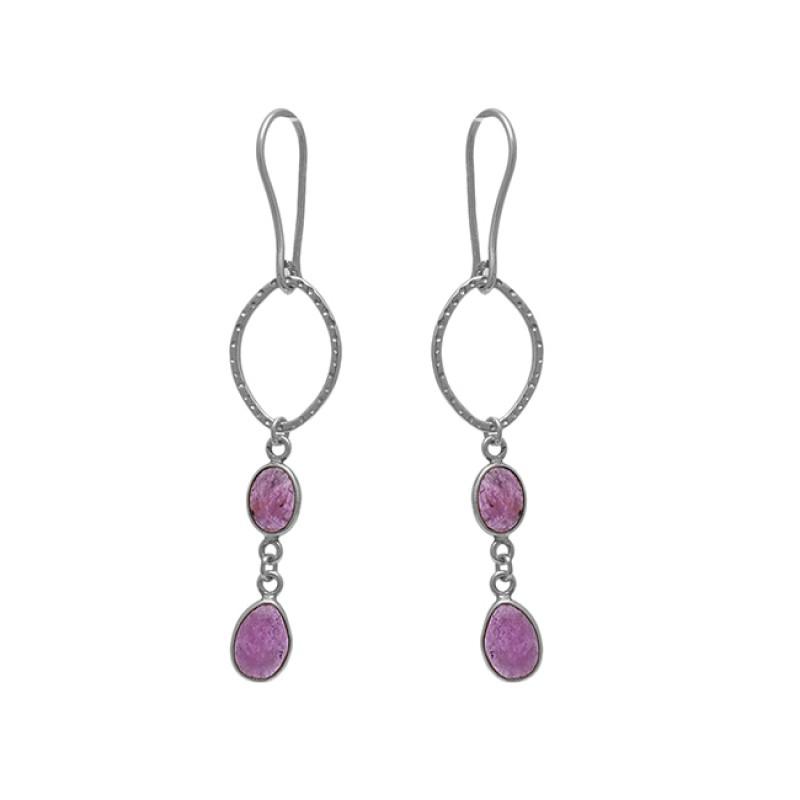 925 Sterling Silver Jewelry Oval  Shape Tourmaline  Gemstone Gold Plated Earrings