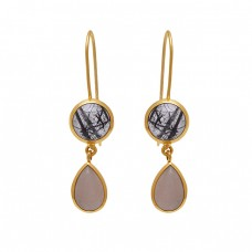 925 Sterling Silver Jewelry Round Pear  Shape Rutile Moonstone  Gemstone Gold Plated Earrings