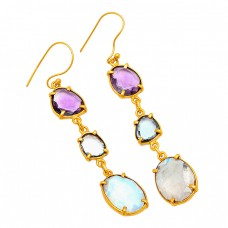 Rainbow Amethyst Topaz Gemstone Handmade Prong Setting 925 Sterling Silver Gold Plated Earrings