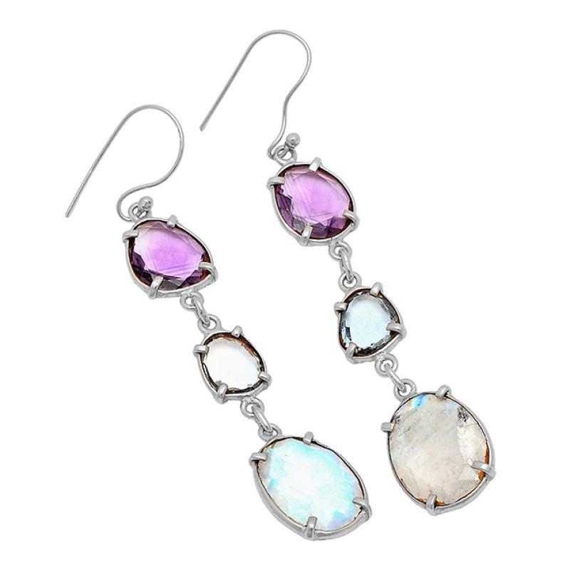 Rainbow Amethyst Topaz Gemstone Handmade Prong Setting 925 Sterling Silver Gold Plated Earrings