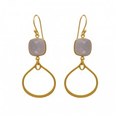 925 Sterling Silver Jewelry Square Shape Peach Moonstone   Gemstone Gold Plated Earrings
