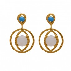 925 Sterling Silver Jewelry Round  Shape Turquoise  Moonstone  Gemstone Gold Plated Earrings
