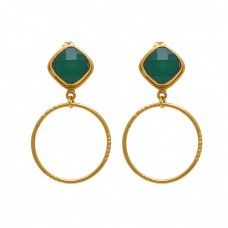 925 Sterling Silver Jewelry Square Shape Green Onyx Gemstone Gold Plated Earrings