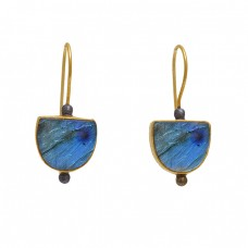925 Sterling Silver Jewelry Fancy   Shape Labradorite  Gemstone Gold Plated Earrings
