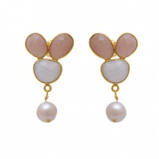925 Sterling Silver Jewelry Oval Fancy Round  Shape  Moonstone  Pearl Gemstone Gold Plated Earrings