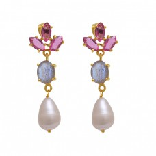 925 Sterling Silver Jewelry Marquoise Oval  Shape Quartz Labradorite Pearl Gemstone Gold Plated Earrings